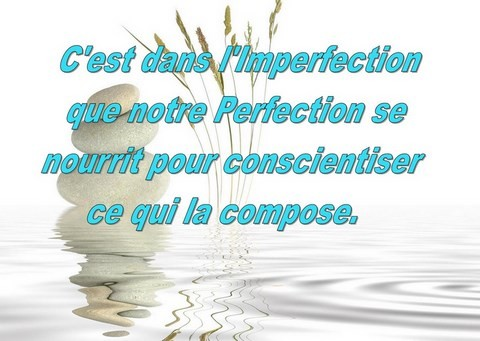 l'imperfection compose notre perfection pour se conscientiser